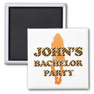 John's Bachelor Party 2 Inch Square Magnet