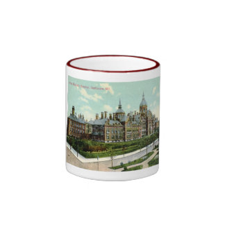 Johns Hopkins Hospital, Baltimore 1910 Vintage Ringer Coffee Mug