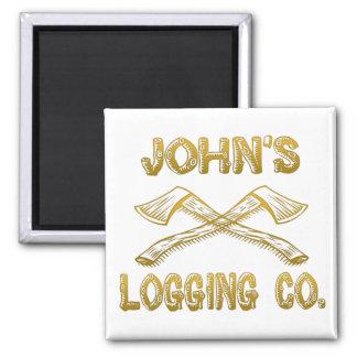 John's Logging Company 2 Inch Square Magnet