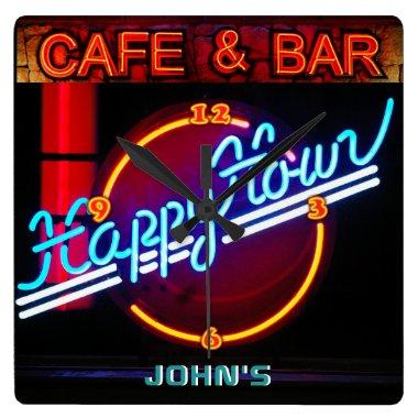 JOHN'S - Name Neon Sign Bar Mancave Den Clock Fun