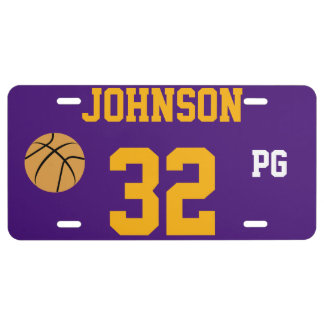 Johnson 32 Purple and Gold Basketball Template License Plate
