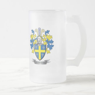 Johnson Coat of Arms Frosted Glass Beer Mug