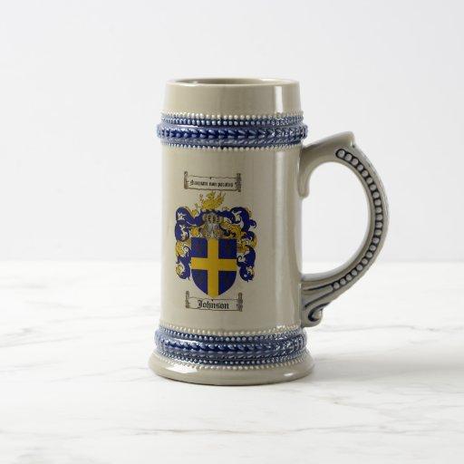 Johnson Coat of Arms Stein / Johnson Crest Stein Mugs
