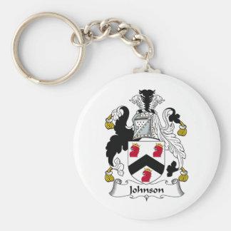 Johnson Family Crest Basic Round Button Keychain