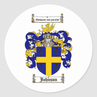 JOHNSON FAMILY CREST -  JOHNSON COAT OF ARMS CLASSIC ROUND STICKER
