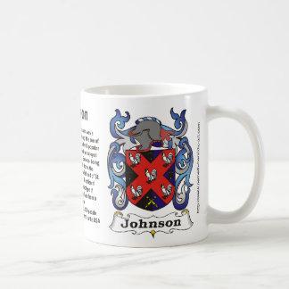 Johnson Family Crest on a mug