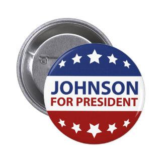 Johnson para el presidente pin redondo de 2 pulgadas
