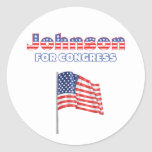 Johnson para la bandera americana patriótica del pegatina redonda