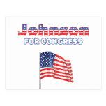 Johnson para la bandera americana patriótica del postal