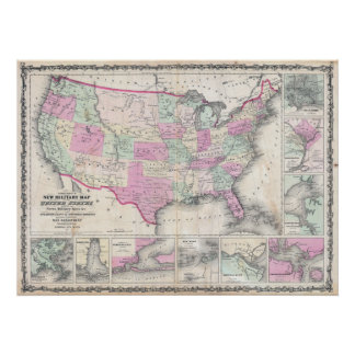 Johnson s Military Map of the United States Poster