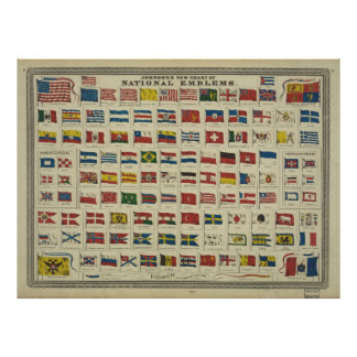 Johnson s New Chart of National Emblems 1868 Posters
