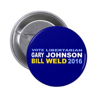 Johnson-Soldadura libertaria 2016 del voto Pin Redondo De 2 Pulgadas