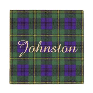 Johnston clan Plaid Scottish tartan Maple Wood Coaster