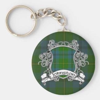 Johnston Tartan Shield Basic Round Button Keychain