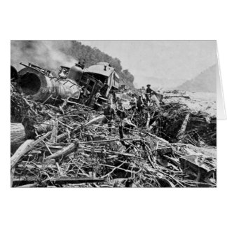 Johnstown Flood Train Wreck Vintage 1889 Card