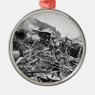 Johnstown Flood Train Wreck Vintage 1889 Metal Ornament