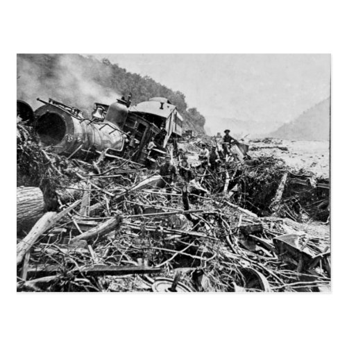 Johnstown Flood Train Wreck Vintage 1889 Postcard