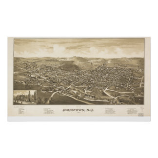 Johnstown New York 1888 Antique Panoramic Map Poster