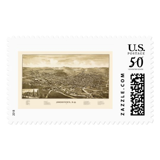 Johnstown, NY Panoramic Map - 1888 Postage