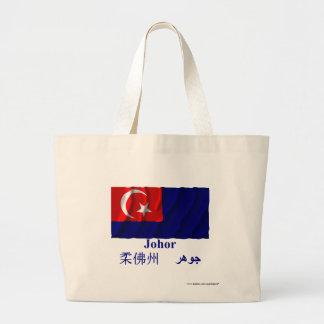 Johor waving flag with name tote bag