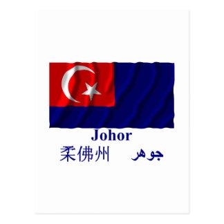 Johor waving flag with name postcard