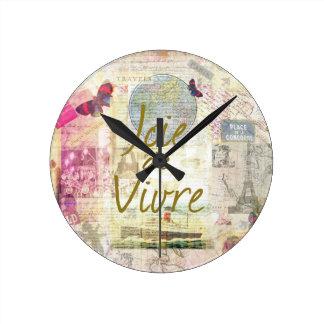 Joie De Vivre Round Clock