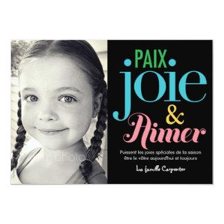 """Joie y vacance de photo de las cartas de d'amour invitación 5"""" x 7"""""""