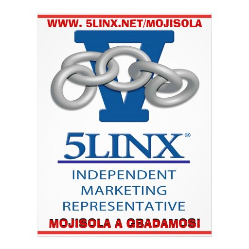 "JOIN 5LINX NDEPENDENT MARKETING REPRESENTATIVE 8.5"" X 11"" FLYER"