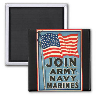 Join Army, Navy, Marines WPA 1917 2 Inch Square Magnet