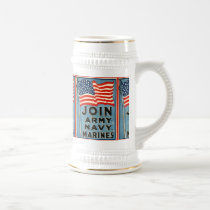 Join Army, Navy, Marines WPA 1917 Beer Stein