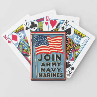 Join Army, Navy, Marines WPA 1917 Bicycle Playing Cards