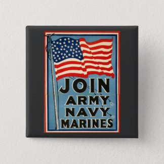 Join Army, Navy, Marines WPA 1917 Button