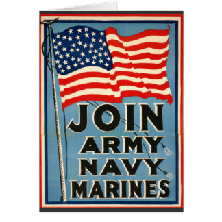 Join Army, Navy, Marines WPA 1917 Greeting Cards