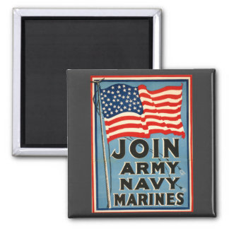 Join Army, Navy, Marines WPA 1917 Fridge Magnet