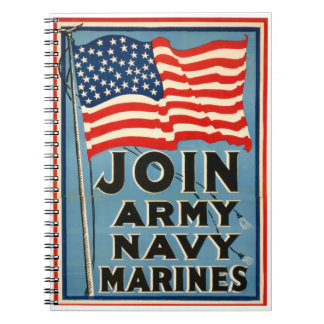 Join Army, Navy, Marines WPA 1917 Spiral Note Book