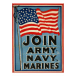 Join Army, Navy, Marines WPA 1917 Posters