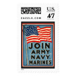 Join Army, Navy, Marines WPA 1917 Stamp