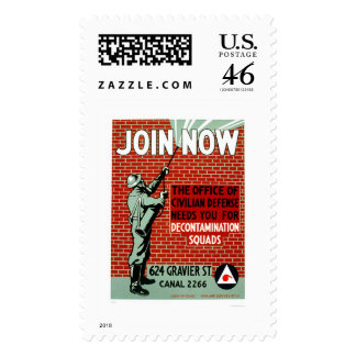 Join Civil Defense Decontamination Squads 1943 WPA Postage Stamps