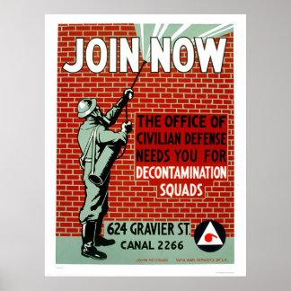 Join Civil Defense Decontamination Squads 1943 WPA Poster