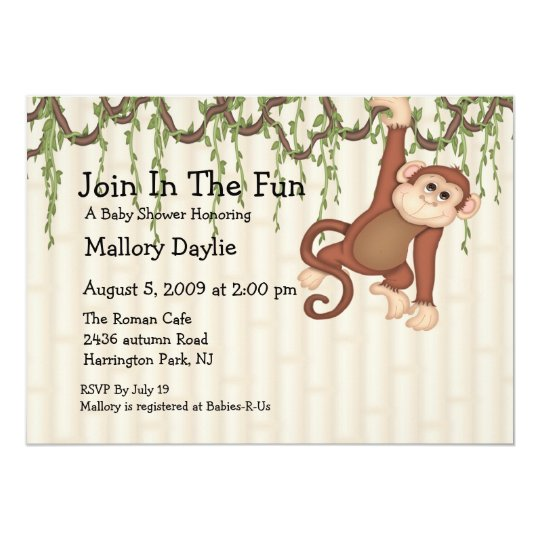 Join In The Fun Monkey Baby Shower Card