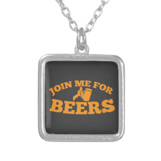 Join me for BEERS! Silver Plated Necklace
