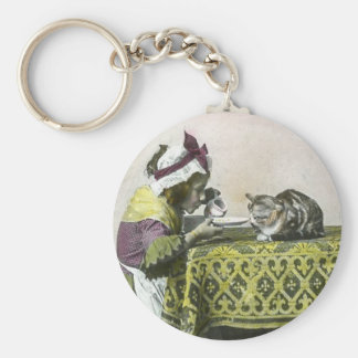 Join me for Tea Kitty Vintage Victorian Tea Party Basic Round Button Keychain
