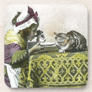 Join me for Tea Kitty Vintage Victorian Tea Party Coaster