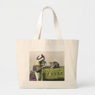 Join me for Tea Kitty Vintage Victorian Tea Party Large Tote Bag