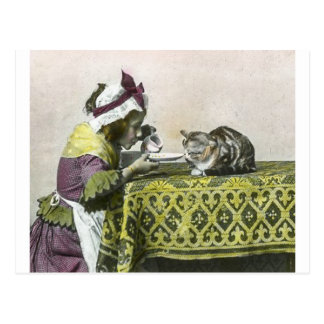 Join me for Tea Kitty Vintage Victorian Tea Party Postcard