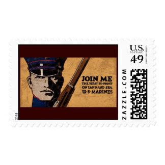 Join Me Land Sea US Marines Postage Stamp