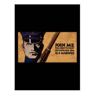 Join Me Land Sea US Marines Postcard