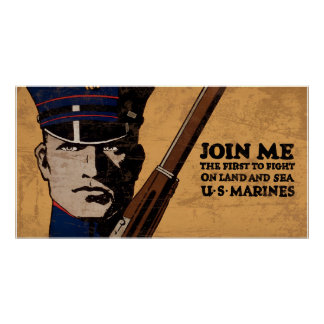 Join Me Land Sea US Marines Poster