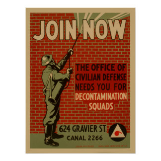 Join Now Civil Defense Decontamination Squads Poster