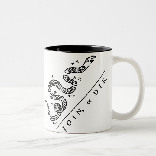 Join Or Die :: $17.95 Two Toned Coffee Mug